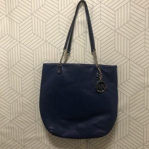 Micheal Kors blue leather shoulder  tote bag